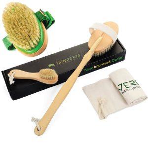 SpaVerde Natural Boar Bristle Body Brush and Face Brush Set for Dry Brushing