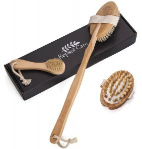 Body Brush for Dry Skin Brushing with Natural Boar Bristles and Detachable Long Handle