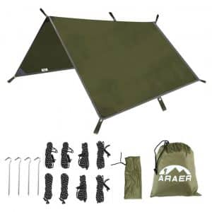 ARAER Tent Tarp with 4 Stakes & 8 Ropes