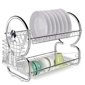 Homdox 2-Tier Dish Rack & Drain board Set