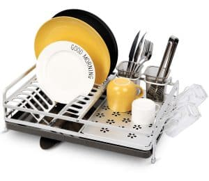 Miusco Dish Drying Rack Featuring Swivel Spout Draining System