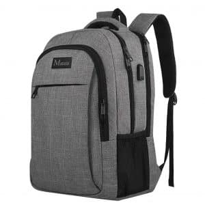 MATEIN-Travel Business Anti-Theft Laptop Backpack Water Resistant Bag- Grey