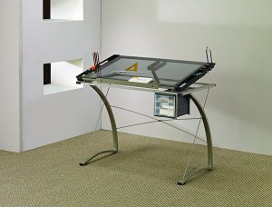 Coaster Desks Glass-Top Drafting Table