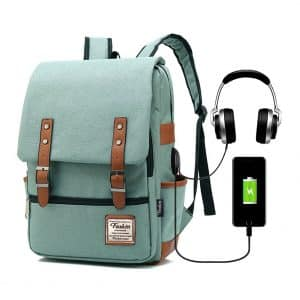 Feskin-Vintage Women Men Laptop Backpack Fits 15.6-inch Laptop