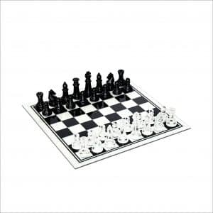 WE Games Black Clear Glass Chess Set