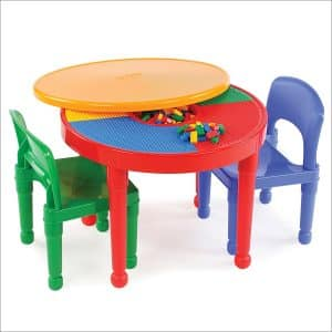 Tot Tutors Kids 2-in-1 Plastic LEGO-Compatible Activity Table