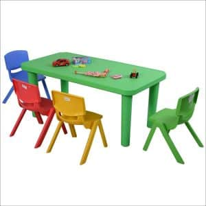 Costzon New Kids Plastic Table and 4 Chairs Set