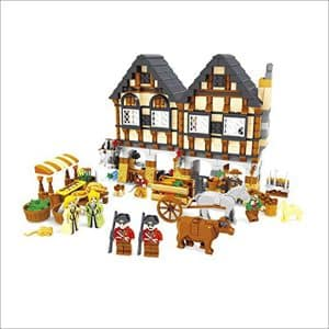 Ausini Medieval Farmers Market Village Castle House Friends Building Bricks 884pc