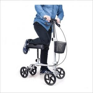 CO-Z Steerable Foldable Knee Walker Roller Scooter with Basket
