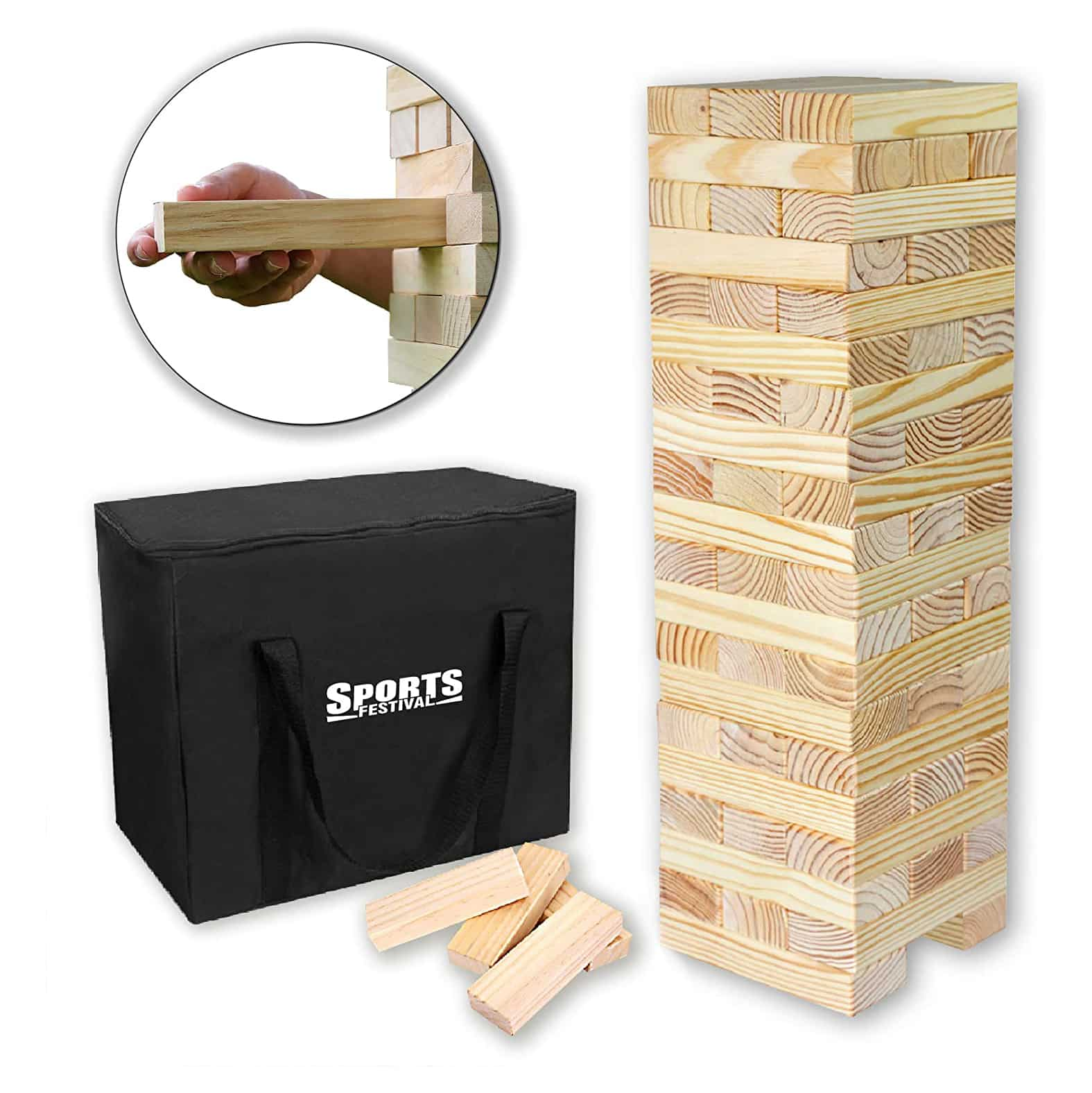 Sports Festival Giant Wooden Tumbling Timbers with Storage Bag