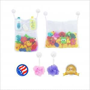 2 x Mesh Bath Toy Organizer with 6-Strong Hooks Toy and Bathroom Storage