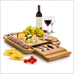 Bambusi 4-Piece Natural Bamboo Cheese Board with Cutlery Set