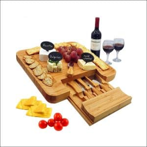 1Elegant Natural Bamboo Cheese Board & Cutlery Set with Slide