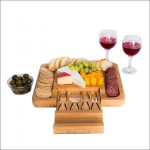 Oaklyn Elegant 4-Piece Bamboo Cheese Board with Cutlery Knife Set