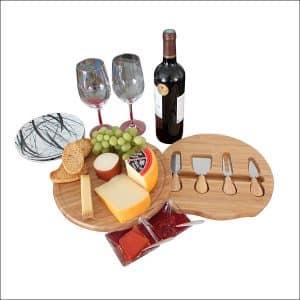 KoalaReef 11-Inch Circular Bamboo Cheese Board& Cutlery Set