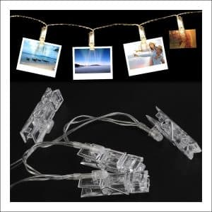 50 LED Stringed Photo Clips Lighting