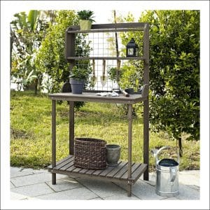 Coral Coast Wooden Potting Bench with Hanging Grate