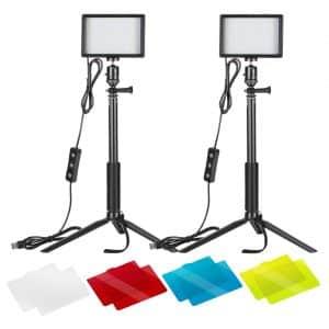 Neewer 2 Packs Dimmable 5600K USB LED Video Light  </p srcset=