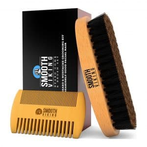Smooth Viking Beard Care & Mustache Comb and Brush Kit