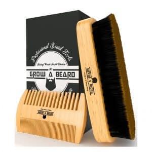 Grow A Beard Brush and Comb Set for Men's Best Bamboo Beard Grooming Kit
