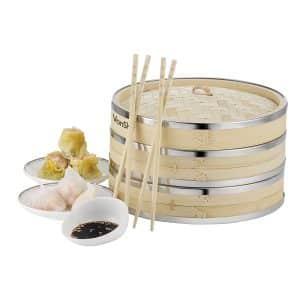 VonShef Premium 2-Tier Bamboo Steamer