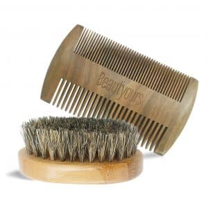 Beautyours beard Comb & Brush Kit Handmade with Natural Boar Bristle
