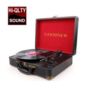 GOODNEW Vinyl Record Player Turntable with Built in Speakers