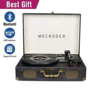 Wockoder Classic Portable Suitcase Vinyl Record Player