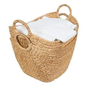 BirdRock Home Water Hyacinth Laundry Basket, Natural