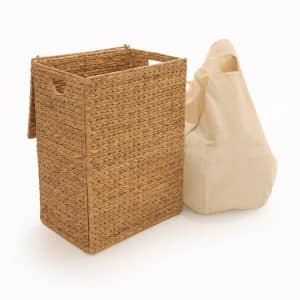 Seville Classics Foldable Water Hyacinth Laundry Basket