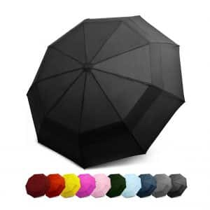 EEZ-Y Compact Travel Umbrella w/Windproof Double Canopy Construction
