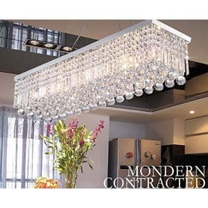 CRYSTOP Rectangle Crystal Chandeliers Dining Room Modern