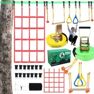 X XBEN 50' Slackline Kit with Jungle Monkey Bars