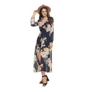 Zeagoo Women Floral Chiffon Deep - Beach Dress