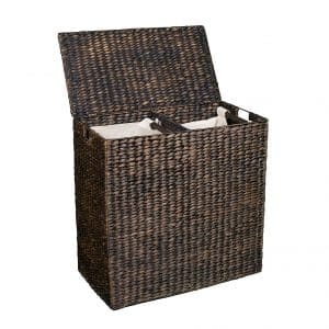 BirdRock Home Water Hyacinth Laundry Basket, Espresso
