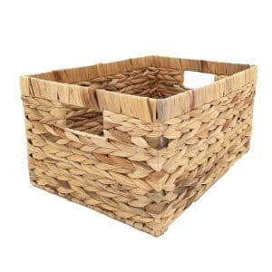KINGWILLOW Natural Water Hyacinth Rectangular Laundry Basket