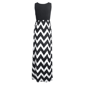 Yidarton Wave Striped Beach Dress