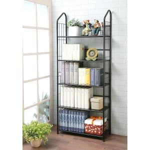 Unbrand Five Tier Metal Black Bookshelf Rack