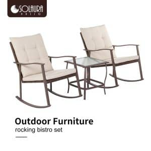 Solaura Outdoor 3-Piece Rocking Wicker Bistro Set with Waterproof Cushions