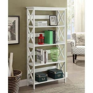 Oxford Five Tier Bookcase, White from Convenience Concepts
