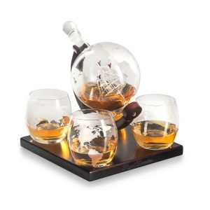 Royal Decanters Etched Globe Whiskey Decanter Set