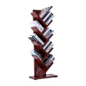 9-Shelf Tree Bookshelf, Cherry from SUPERJARE