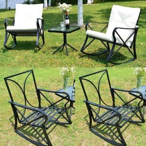 Feelway Outdoor 3 Pcs Rocking Chair Patio Wicker Furniture Bistro Set