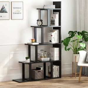 Tribesigns 5-Shelf Modern Simplism Ladder Corner Bookshelf (Black)