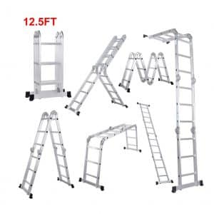 Scaffold Heavy Duty Multi-Purpose Folding Ladder Extendable Platform Aluminum from Lifewit