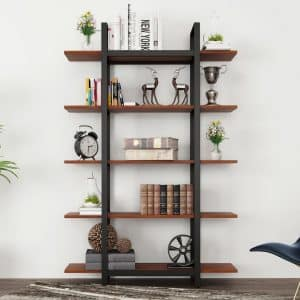 Tribesigns 5-Tier Bookshelf, Cherry