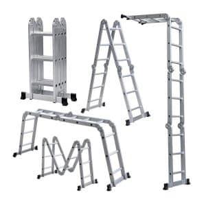 ALEKO FL-12 Heavy Duty Aluminum Multiple Position Multi-Purpose Folding Ladder