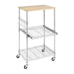Whitmor Supreme Chrome Microwave Cart with Locking Wheels