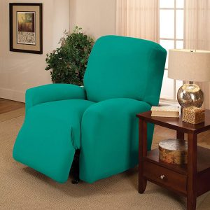 Madison Stretch Jersey Aqua Recliner Slipcover, Solid, Large