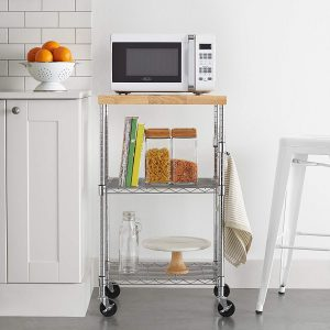 AmazonBasics Microwave Cart Wood and Chrome on Wheels